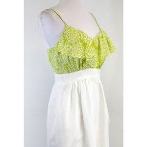 shoshanna Dresses - Shoshanna Lime & White Ruffled Floral Silk Dress